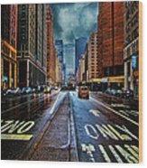 Rain On Park Avenue Wood Print
