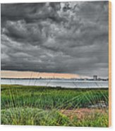 Rain Rolling In On The River Wood Print