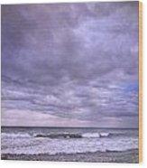 Rain Storm At The Sea Wood Print