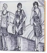 Rainbow 1920s Fashions Wood Print