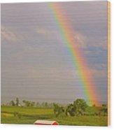 Rainbow And Red Barn Wood Print