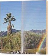 Rainbow At Old Faithful Wood Print