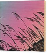 Rainbow Batik Sea Grass Gradient Silhouette Wood Print