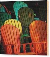 Rainbow Chairs Wood Print