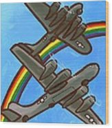 Rainbow Flight Wood Print