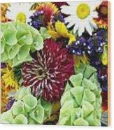 Rainbow Floral Display Wood Print