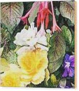 Rainbow Flower Basket Wood Print