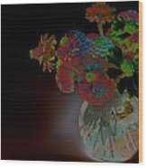 Rainbow Flowers In Glass Globe Wood Print by Padre Art