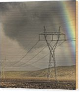 Rainbow Forms Over Powerlines Wood Print