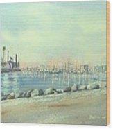 Rainbow Harbor And The Oil Island Wood Print