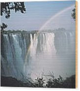 Rainbow In Front Of Victoria Falls Wood Print