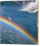 Rainbow On Niagara Falls Wood Print