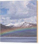 Rainbow Over A Lake Wood Print