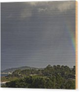 Rainbow Over Carmel Wood Print by Mike Herdering