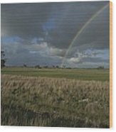 Rainbow Over Fields At Kangaroo Island Wood Print