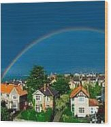 Rainbow Over Housing, Monkstown, Co Wood Print