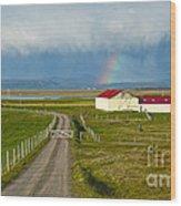 Rainbow Over Iceland Farm Wood Print
