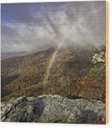 Rainbow Over Rough Ridge - Nc Autumn Scene Wood Print