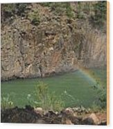 Rainbow Over The Creek Wood Print
