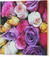 Rainbow Rose Bouquet Wood Print