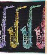 Rainbow Saxophones  Wood Print