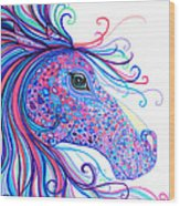 Rainbow Spotted Horse Wood Print