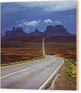 Rainclouds Over Monument Valley Wood Print