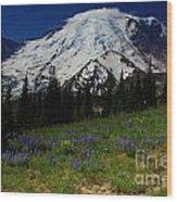 Rainier From The Sourdough Trail Wood Print