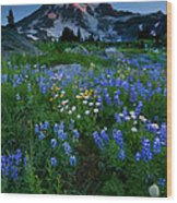 Rainier Wildflower Dawn Wood Print by Mike  Dawson