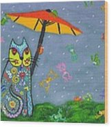 Raining Frogs On Kittyboy Wood Print