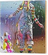 Rainy Day Clown 3 Wood Print by Steve Ohlsen