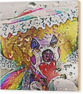 Rainy Day Clown Wood Print