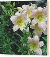Rainy Day Day Lilies Wood Print