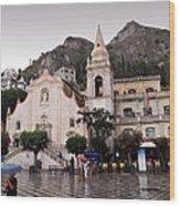 Rainy Day In Taormina Wood Print