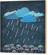 Rainy Day With Umbrella Wood Print by Setsiri Silapasuwanchai
