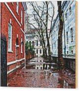 Rainy Philadelphia Alley Wood Print by Bill Cannon