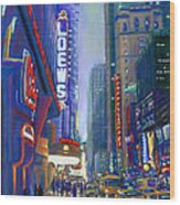 Rainy Reflections In Times Square Wood Print