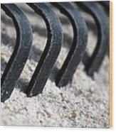 Rake In Sand Wood Print