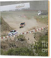 Rally Racing Excitement Wood Print
