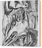 Ram Skull Still-life Wood Print