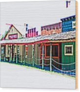 Ranch Buildings - Hdr White Wood Print