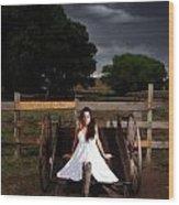 Ranch Woman On Wagon Wood Print