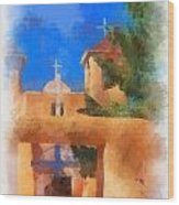 Ranchos Church Gate - Aquarell Wood Print