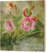 Ranunculus Painterly Wood Print