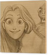 Rapunzel And Pascal Wood Print
