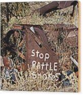 Rattlesnake Warning Wood Print