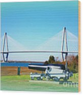Ravanel Bridge At Patriot Point Charleston Sc Wood Print