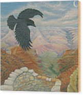 Raven Over The South Rim  Wood Print