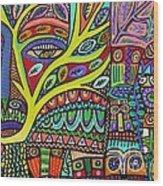 Raven Spirit Tree Totem Goddess Wood Print
