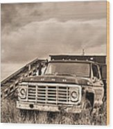 Ready For The Harvest Sepia Wood Print